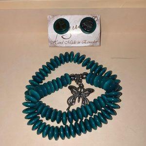 2 bracelets and pair of earings